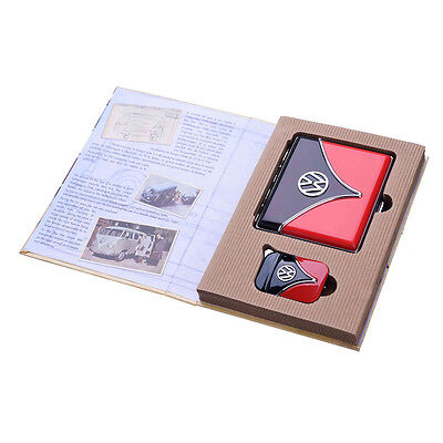 Official VW Camper Van Gas Lighter + Cigarette Case in gift box - Black / Red