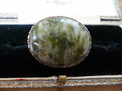 Vintage Silver And Iona Marble Brooch