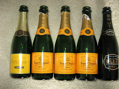 5 empty French Champagne bottles 375 ml - Veuve Clicquot Brut, Luc Belaire Brut