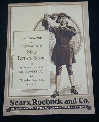 1930 Sears Promotional Announcement Opening of Store Charlotte NC + More