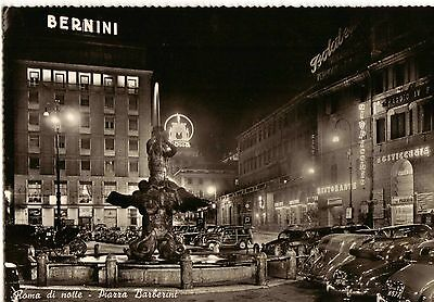 Rome By night, Barberini Square, Rome Italy c1950 Real Photograph