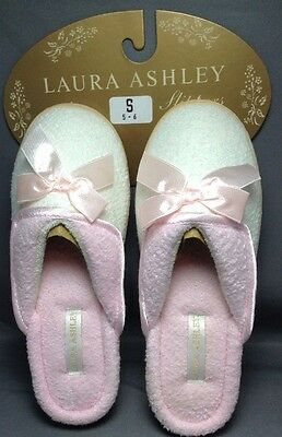 Laura Ashley Slippers Small (5-6) Womens Soft Comfy Slip On Shoes Pink White New
