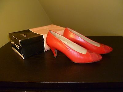 1980s red Pierre Cardin leather court shoes, UK Size 4 or 4.5