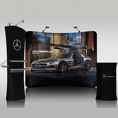 Portable 10ft Curved Fabric trade show display booth banners tradeshow displays