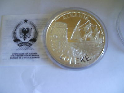 Albania 1987 Large Silver Coin 50 Leke Seaport of Durazzo Sailship 5oz Silver