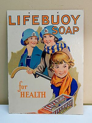 """Antique """"LIFEBUOY SOAP"""" for Health Cardboard Advertising Sign"""