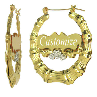 Personalized Gold Bamboo Hoop Earrings With Name 1 9 Inches Custom Any