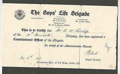 EPHEMERA CERTIFICATION FOR COMMISSIONED OFFICER 35th MANCHESTER COMPANY 1916