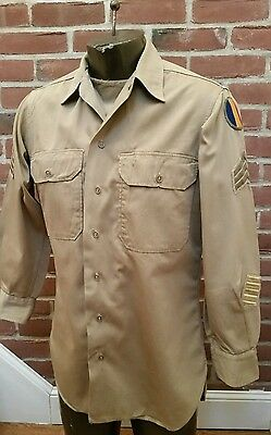 Original Wwii Us Army Enlisted Khaki Shirt W/patches & Stripes 15/32