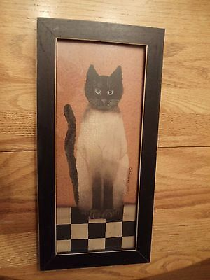 Siamese Country Cat Framed Print ~ by Cindy Sampson  1990's Folk Art Cat Picture
