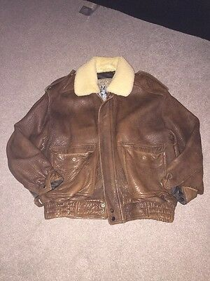 Men's Size Large Brown Sheepskin Aviation Leather Jacket Vintage Retro Hipster
