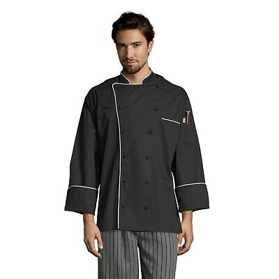 Uncommon Threads Murano men's chef coat, Black with White Piping, XS to 2XL 0432