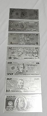 Beautiful 7 Piece Set .999 Silver US Banknotes Incl 1, 2, 5, 10, 20, 50 & $100