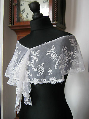 Beautiful and Stunning Delicate Antique Vintage Deep Lace Shawl - 125 cm long