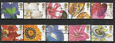 GB Stamps 1997 19th-Century Flower Paintings Used Set of Stamps SG 1956-1964