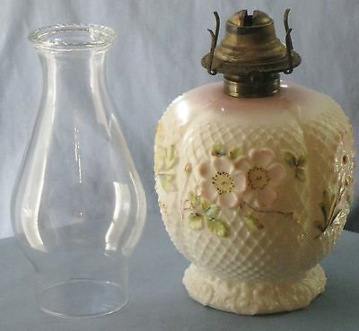 ANTIQUE OPAQUE WHITE GLASS COSMOS #2 OIL LAMP BASE/FONT w/CHIMNEY FLORAL LATTIS