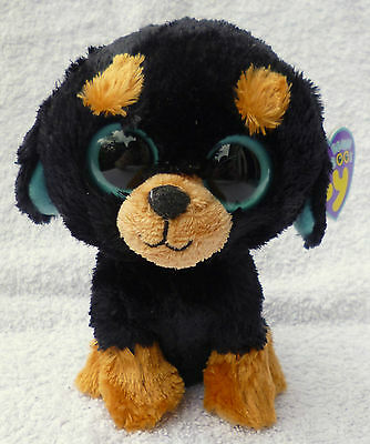 Rare Ty Beanie Boos/Boo Soft Plush Toy Tuffy the Rottweiler MWMT MINT Approx 6""