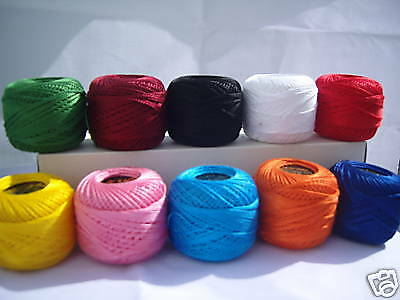 10 x ANCHOR Embroidery Pearl Cotton. No.8, 10 Different Colours, Great Value