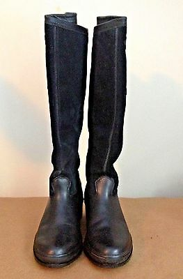 Ariat Black Leather/Suede Equestrian Knee High Waterproof Lined Boots 9B 66001