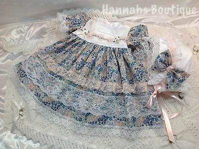 Hannahs Boutique 3-6 Month Baby Frilly Dress & Bonnet Set Or Reborn Doll
