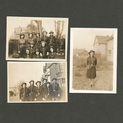 Three Vintage Balck And White Snapshots Girl Guides