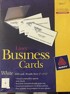 Avery 5911Laser Business Cards, 2 x 3.5-Inches, White, Box of 2500 Cards