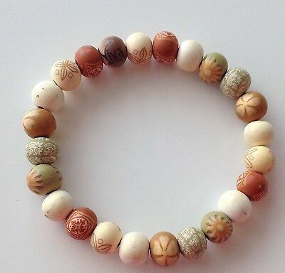 Viva Beads Hand Painted Stretch Clay Bracelet Earth Tones Brown Cream