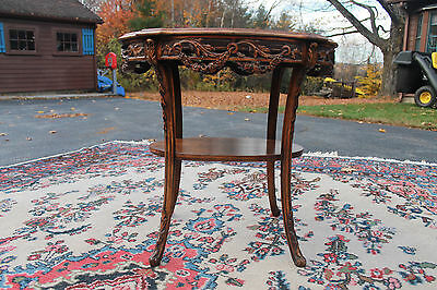 Hand carved inlay wooden side wall table