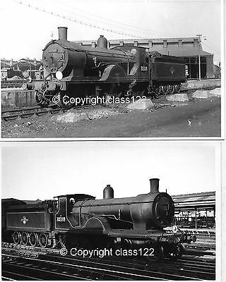 2 B&W Photos LSWR 'T9' class 4-4-0 No.30338