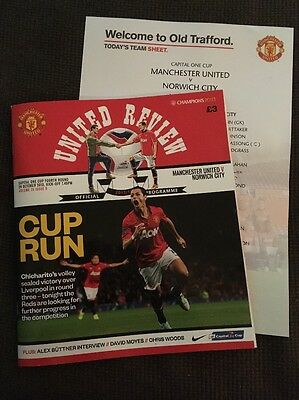 Manchester United v Norwich City LC 29 Oct 2013 + teamsheet