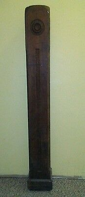 Circa 1900 Antique Carved Oak Stair Newel Post Architectural Salvage Craftsman
