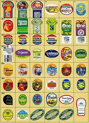 (165) 47 Different Banana Labels Stickers Still Unused In Original Backing Paper