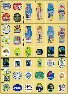 (164) 40 Different Banana Labels Stickers Still Unused In Original Backing Paper
