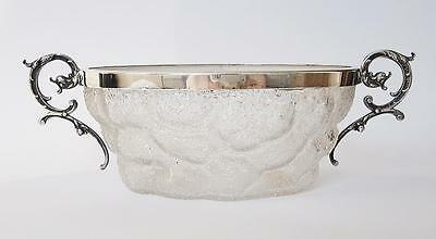 Antique WMF FROSTED GLASS Bowl SILVER PLATED MOUNTS c1910