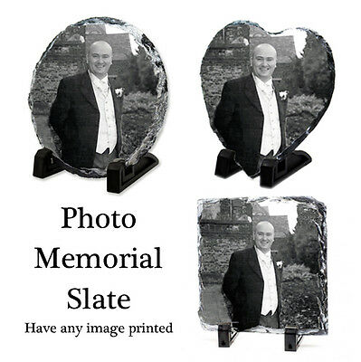 Memorial Photo Rock Slate Plaque - Personalised Memory Slate & Stand Any Image