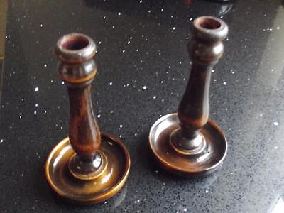 Vintage Pair Of Nice Turned Wooden Candlesticks With Nice Patina  See Photos