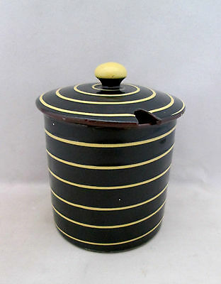 Vintage Babbacombe Pottery Jam/preserve Pot & Lid Yellow Slip Spiral C1960's