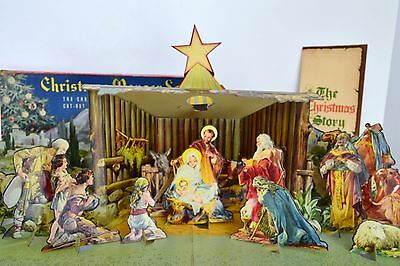 Concordia Christmas Manager Nativity Set 743 Cardboard Litho
