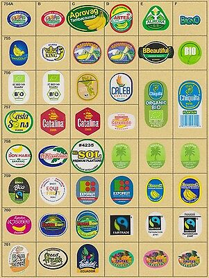 (178) 46 Different Banana Labels Stickers Still Unused In Original Backing Paper