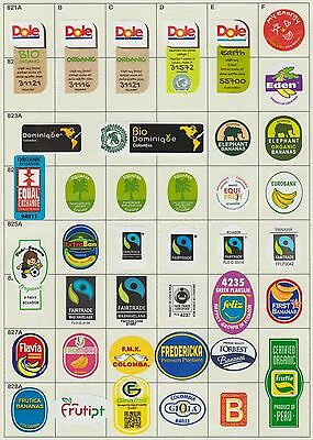 (190) 39 Different Banana Labels Stickers Still Unused In Original Backing Paper