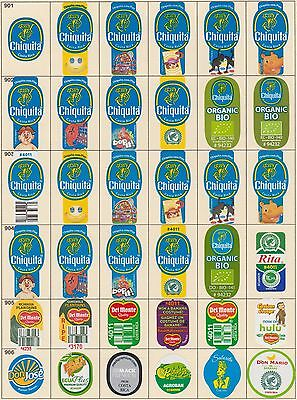 (201) 36 Different Banana Labels Stickers Still Unused In Original Backing Paper