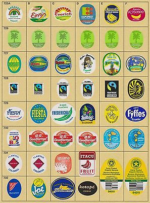 (174) 46 Different Banana Labels Stickers Still Unused In Original Backing Paper