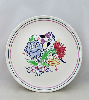 Poole Pottery 1973 Large  Hand Painted Plate, Traditional Flowers,