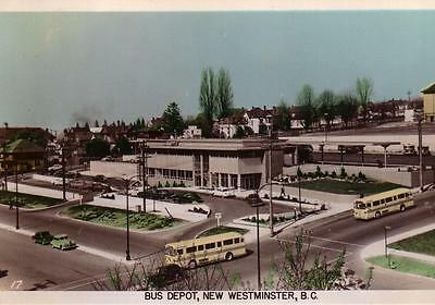 Photo. 1951-3. New Westminster, BC. Sky view of Bus Depot
