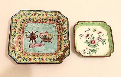 Two Old or Antique Chinese Enamel Trays ft. Lotus & Chrysanthemum Floral Relief