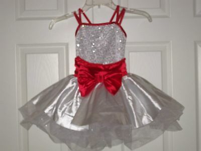 WEISSMAN Dance Costume RED/WHITE Sparkly TUTU Performance DRESS sz LC Excellent!