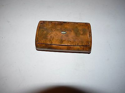 tobacco or cigarette case made of tropical wood with mother of pearl inlay