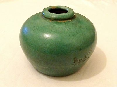 Small Antique Chinese Green Glaze Vase / Inkwell? Porcelain / Ceramic