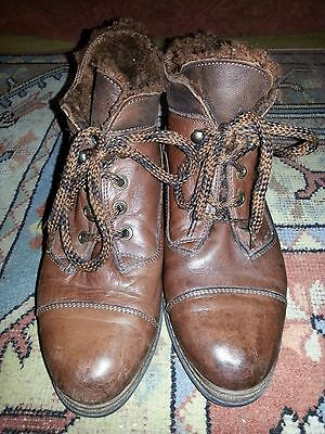 Vintage Women's Bally short fur lined leather boots brown, size 5 (38)