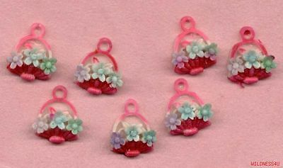VINTAGE Plastic Easter BASKET CHARMS PENDANTS JAPAN Flowers Hand Painted red lot